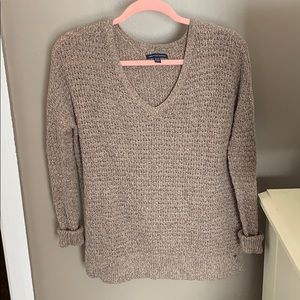 Brown American Eagle V-neck Sweater